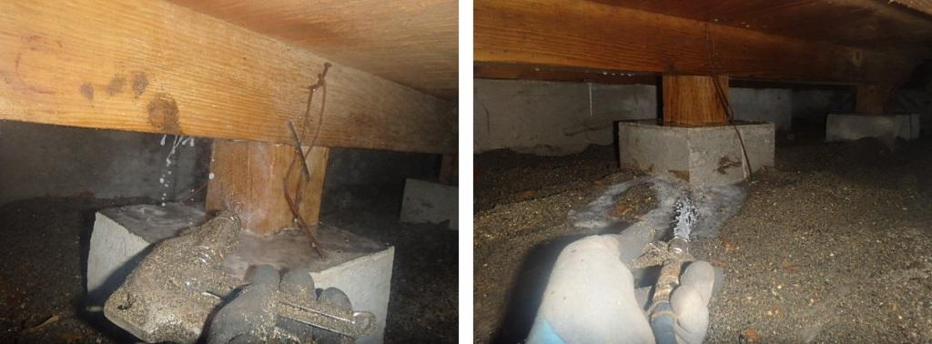 床下への薬剤散布処理