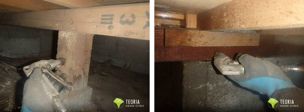 床下の木材処理