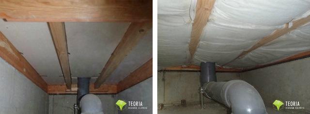 床下断熱配管周り施工前後