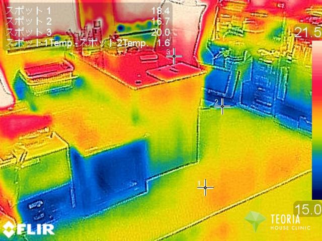 床下断熱リフォーム後のサーモカメラ